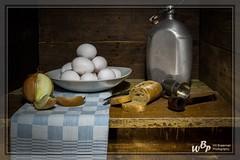 2270 - Home from work dinner time (wibra53) Tags: 2019 eggs baquette blik eieren geruitetheedoek old oud stilllifephotography stilleven stokbrood ui union