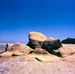 Sardinia - Porto Giunco Rocks (Kodak Ektar 100 6x6) (tjshot) Tags: film print vintage camera medium format 6x6 square kodak ektar 100 scan scanner stitch macro color saturation dynamic range rock beach tower people sand sun summer sardinia italia island visit tourist holiday vacation blue sky home self develop c41 tetenal kit kiev arax carl zeiss flektogon 50mm f 4