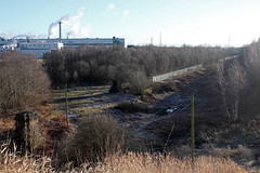 Partington (Rusty Rail..) Tags: on partington side viaduct short bridge has been demolised leaving gap alignment the abutments left believe were from original lower over river mersey before manchester ship canal was built new carrington paper mill dominates background taken 020213