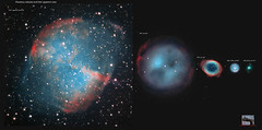 comparison of apparent sizes of planetary nebulae (astrophoto16) Tags: asi224mc astrophoto astronomy astrophotographie astronomie nebuleuse nebula zwo telescope 300mm orionoptics