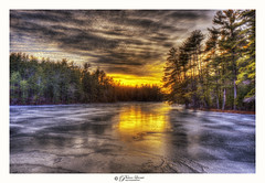 Harris Pond, NH (Pearce Levrais Photography) Tags: landscape sunset sunrise forest tree trees nature outside outdoor sky cloud canon hdr explore nh newhampshire water lake pond frozen ice reflection