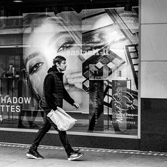Whispering (EightBitTony) Tags: window person city february nottingham carrierbag male urban canon7d2 poster man streetphotography blackandwhite citycentre 2019 uk nottinghamshire bw blackwhite canon canon7dmarkii canon7dmark2 canon7dmk2 canon7dii canondslr canoneos canoneos7dmarkii canoneos7d2 canoneos7dii mono monochrome england unitedkingdom gb