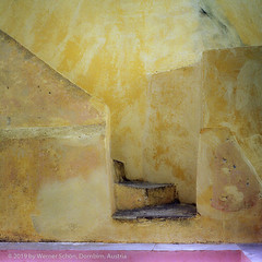 Wall and Stairs, Santorini, Greece (WernerSchoen) Tags: santorini greece walls colors europe stairs yellow pink analog film yashica 6x6 thira abstract kykladen cyclades fuji mauer treppe santorin stufen gelb