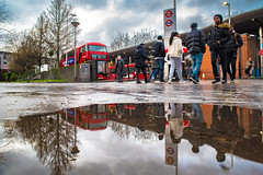 Line em up (Paul Wrights Reserved) Tags: reflection reflections reflectionphotography london londonstreets londonbus londonbuses underground londonunderground tfl sky puddle puddlephotography tree people streetphotography bus buses