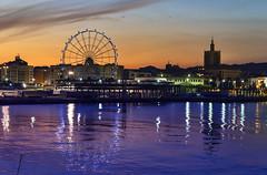 Malaga port (pacogranada) Tags: malaga puerto nocturna andalucia andalusia spain españa noria bigwheel reflejos reflections mediterranean see mediterraneansee