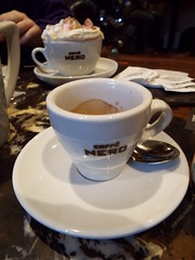 Coffee - how do you like yours??? (sean and nina) Tags: nero cafe derry londonderry coffee kava caffe espresso expresso latte cream marshmallows cup white saucer spoon table indoor inside caffeine drink refreshment creamy