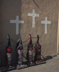 Cleanliness is next to godliness (ADMurr) Tags: la church vacuums vacuum cleaner three crosses cross mamiya 7 80mm lens kodak ektar mf 6x7 dac449