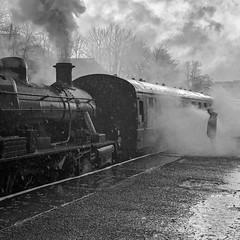 Lost in Steam (Mister Oy) Tags: eastlancsrailway iphonex train steam loco engine mono monochrome blackandwhite quare bury brstandard2 78018 iphone iphoneography moody rain raining platform guard lonely lone alone lost weather
