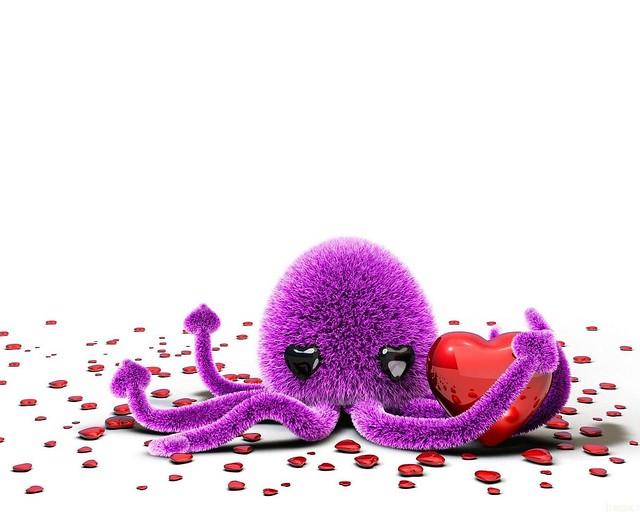 Обои осьминог, фиолетовый, красный, сердце картинки на рабочий стол, фото скачать бесплатно