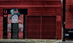 The Queen's Back Door (Russ Allison Loar) Tags: queenofhearts queen royal monarchy streetart backdoor gate publicart losangeles southerncalifornia architecture brickbuilding earthquake retrofitting brexit england uk britain europeanunion door eu