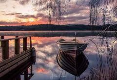 Untold Stories part 2 (Fredrik Lindedal) Tags: boat reflection reflections sunrise lake landscape sweden sverige jetty silence siluette alone calmness clouds cloudsstormssunsetssunrises sky skyline lindedal nikon iamnikon d750