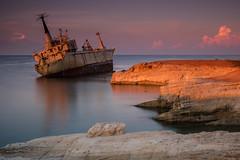 Edro III At Sunrise. (Gordie Broon.) Tags: shipwreck edroiii sunrise mediterraneansea cyprus paphos coralbay island seascape paysagemarin earlymorninglight coastal clouds pegeia gordiebroonphotography greek olympusomdem5 olympuszuiko1240mmlens warm geotagged paphosdistrict le
