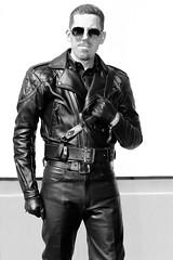 My Leather Portraits (swanson.matt) Tags: leather bluf uniform gay portrait leatherman leathermen men male photography artistic motorcycle gear fetish kink adult man model jacket boots sunglasses muircap leder cuir lgbt queer art culture blackleather city urban glbt