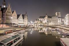 Gent by Night (björnvandenbulcke) Tags: boten water huizen lucht verlichting weerspiegeling