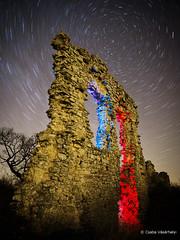 Ruins of castle Csővár (Csaba Vásárhelyi) Tags: csővár hungary magyarország castle ruin star stars startrails csillag magyaroroszág kék blue red piros flash vaku night éjszaka
