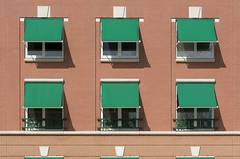 Nine green sun screens (Jan van der Wolf) Tags: map18480v facade gevel architecture architectuur nine negen green groen windows ramen sunscreens zonnescherm