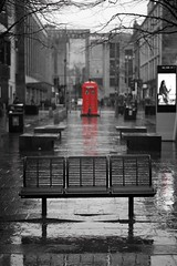 Sauchiehall Street (matthewblackwood10) Tags: sauchiehall street glasgow scotland uk city police box phone red rouge bench rain sheen wet winter march buildings cold miserable outside raining rainy windy grey black white