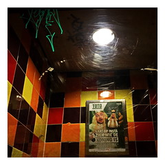 The King Is Searching For His Crown (RadarO´Reilly) Tags: restroom poster graffiti mirrow colors humor street streetphotography