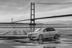Humber bridge VW (Andy barclay) Tags: humber bridge suspension lincolnshire yorkshire wide landscape beach sand sea water relections vw volkswagen jetta mk5 golf bbs puddles carshoot d7100 photoshop