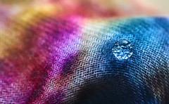 Colorful Cloth (dianne_stankiewicz) Tags: cloth colorful hmm woven scarf drop water macromondays texture