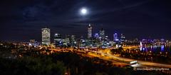 The moon over Perth, WA (Peter.Stokes) Tags: australia australian colour landscape nature outdoors photo photography moon perth wa westernaustralia city cityscape panorama nightpanorama nightphotography nightphoto