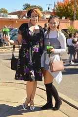 With drinks in hand (radargeek) Tags: dayofthedead 2018 october plazadistrict okc oklahomacity facepaint catrina dress cross stockings socks
