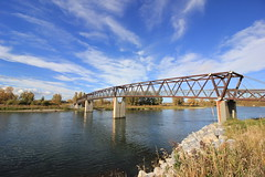 Bridge Over The Bow (pamfromcalgary) Tags: structure architecture landscape bridge calgary bowriver sky clouds