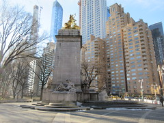 2019 USS Maine Monument Columbus Circle NYC 2307 (Brechtbug) Tags: uss maine monument 1913 beaux arts commemorate controversial sinking battleship 1898 the ship has sculpted representations mythological figures victory peace courage fortitude justice central park entrance nyc 02192019 new york city arms wrapping around rock statue sculpture february 2019 columbus circle