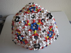 Phizz Buckyball (Tom Hull) (mborigami) Tags: origami paper paperfolding folding phizz buckyball modularorigami