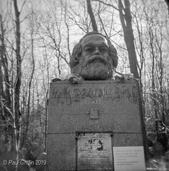 Kontroversial Karl (global griff) Tags: 120film bwfilm england holga negscans monuments tmax400 london cemetary tombstone analogphotography