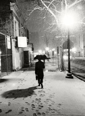 To Work, Washington DC, Circa 1985 (fotographis) Tags: snow snowstorm dc washingtondc umbrella blackwhite blackandwhite night shadow leica m3 summarit 50mm trix