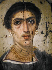 Mummy portrait of a Romano-Egyptian woman from the Hawara Cemetery in the Fayum region of Egypt 2nd century CE (mharrsch) Tags: mummyportrait encaustic roman egypt fayum faiyum ancient funerary petriemuseum london unitedkingdom mharrsch