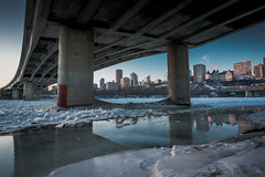 Edmonton Skyline from Down Under (tqrecords) Tags: blue edmonton alberta canada yeg skyline downtown bridge night winter sky cityscape