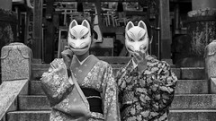 Kyoto Street (Andrew Allan Jpn) Tags: street streetportrait streetfashion mystreet travel japan kyoto japanese japanesegirls mask fox monochrome greyscale happyplanet asiafavorites temple shrine