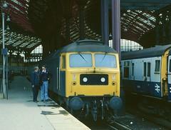 Class 47 at Brighton in 1980 (Tom Burnham) Tags: uk sussex brighton railway station train loco diesel class47 interregional locohauled conversation railwaymen 1980s
