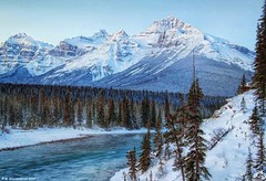 The North Saskatchewan River and Mount Sarbach, Saskatchewan River Crossing, Alberta (PhotosToArtByMike) Tags: saskatchewanrivercrossing northsaskatchewanriver mountsarbach banffnationalpark sunrise saskatchewanriver icefieldsparkway canadianrockies banff albertacanada canadianicefieldsparkway mountain mountains alberta