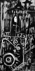 In Her Absence (Skyler Brown Art) Tags: acrylic angst architecture art artwork bw baudelaire black blackwhite blackandwhite canvas charcoal creepy dark darkness depressing emo emotional fear goth gothic greyscale industrial intense macabre nightmare noir ominous paint painting sad scary serious sleep surreal technology whiteout
