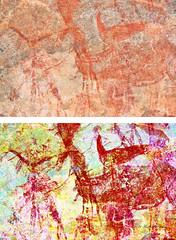 8980 - EKUTA     PENTIMENTI (Übermalung) (HerryB) Tags: 2013 southafrica southwest afrique afrika africa namibia südwest sonyalpha77 slr heribertbechen tamron alpha bechen fotos photos photography sony herryb rockart rockpaintings peintres rupestres petroglyph san zeichnungen felszeichnungen höhlenmalerei paintings bushmen buschmänner dstretch harman jon jonharman enhance falschfarben restauration digitalenhanced enhancement verwitterung granit granite enhanced ekuta abri halbhöhle überhang aiaiba hinterholzer erongo erongogebirge pentimenti
