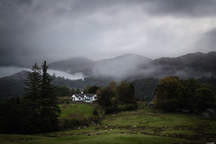 Lonely farmhouse (Rico the noob) Tags: 2018 d850 lakedistrict landscape nature 70200mmf28 hills clouds trees published fog tree travel forest house grass sky animals dof uk 70200mm outdoor