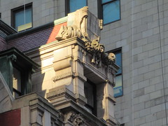 New Amsterdam Theatre Window Gargoyle 3721 (Brechtbug) Tags: new amsterdam theatre window gargoyle 42nd street midtown manhattan nyc theater 03142019 york city near madame tussauds wax museum with giant gold lady hand roof 2019 neon light lights lite red retro clock clocks times square time deco art architecture sign signs looking west forty second st march
