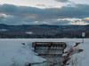Dusk at Keewaydin Dam in Western Maine (athrasher) Tags: water waterfall dam mountains mountain lake hills hilly winter snow cold clouds dusk