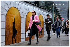 Leading the lunchbreak (Silver Machine) Tags: streetphotography street candid woman walking coat pinkcoat london people groupofpeople outdoor fujifilm fujifilmxt10 fujinonxf35mmf2rwr