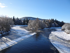 View from Aboyne Bridge, Aberdeenshire (Ian Robin Jackson) Tags: winter aboyne aberdeenshire scotland ice scottish riverdee nature scottishlandscape blue fromabridge view outside northernscotland sony zeiss lens beautiful snowy february scottishviews vista postcard icy worldphoto europe british britain uk