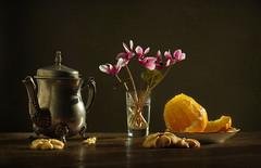 Still life (Elena Chausova) Tags: stilllifepainting lifepainting stilllife still life lemon teapot cyclamen flowers cookies
