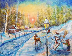 A WINTER VIEW. (tomas491) Tags: snow snowman child house smoke hat lamp sun sky bright deer winter landscape cardinal birch highlights footprints road fantasy oilacrylicpainting mixedmedia handmade