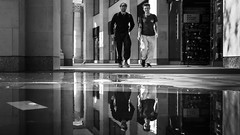 But It's Only A Puddle (Sean Batten) Tags: london england unitedkingdom gb city urban streetphotography street blackandwhite bw candid reflection fuji fujifilm x100f puddle water people