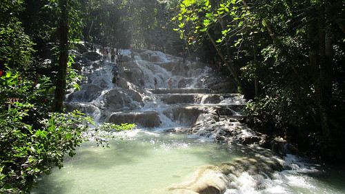 Jamaica -  Ocho Rios: step by step to the top - overview of Dunn's river waterfalls