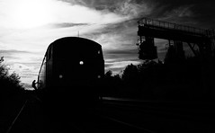 Changing Ends (Wulfruna) Tags: 6e07 grid 56078 colas steel freight railway diesel locomotive bostonsteel uk england traindriver blackandwhite signal gantry washwoodheath