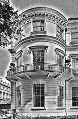 London architecture (Snapshooter46) Tags: london architecturaldetail portlandstone balcony turret victorian monochrome blackandwhite photosketch