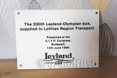 F346 WSC commemorative plaque (Calum Melrose) Tags: lothian olympian f346wsc leyland bus region transport edinburgh